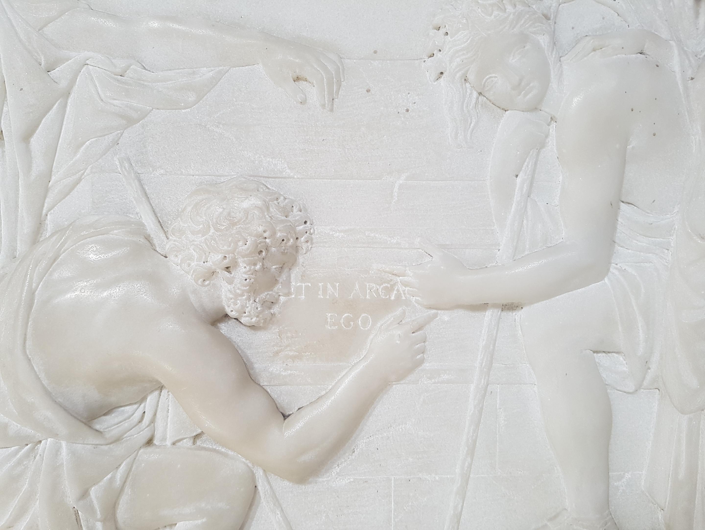 Particolare del bassorilievo del cenotafio di Nicolas Poussin