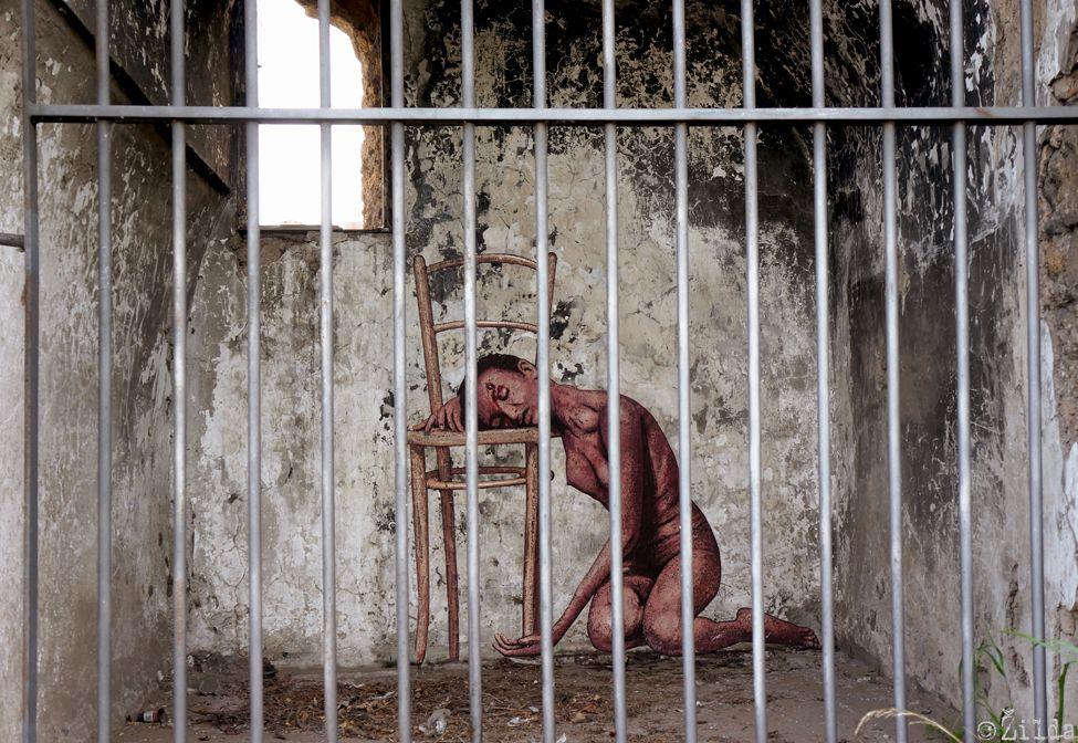Opera di Zilda ispirata al lavoro di Pier Paolo Pasolini in via del Mandrione a Roma
