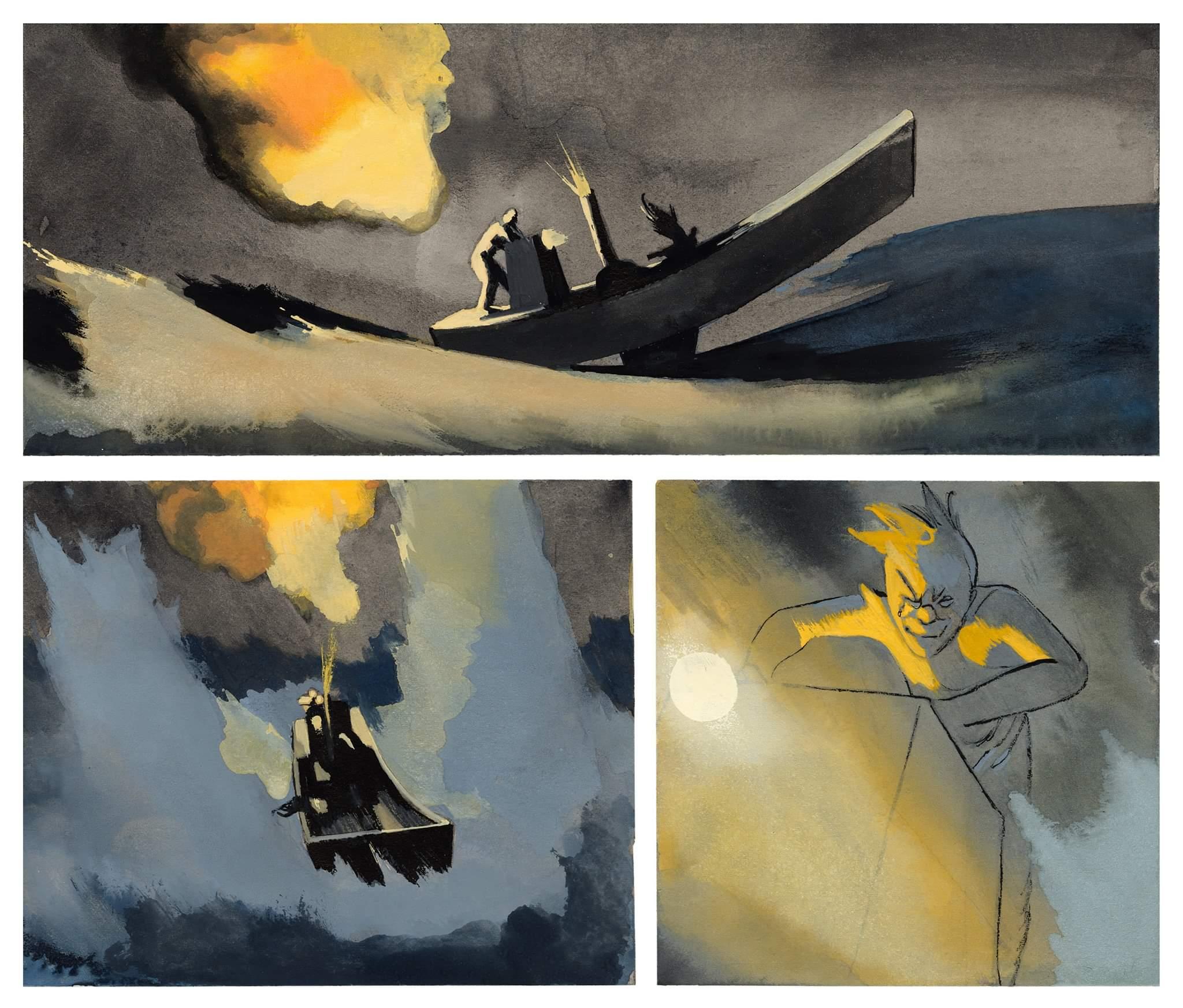 Questa immagine di una barca in silhouette nel mezzo di una tempesta sembra essere uscita da una storia di Paperino (ovviamente rimaneggiata attraverso lo stile-Fior: il leone non è altro che montone assimilato).