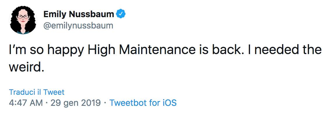 Screenshot_2020-03-12 (20) Emily Nussbaum su Twitter I'm so happy High Maintenance is back I needed the weird Twitter
