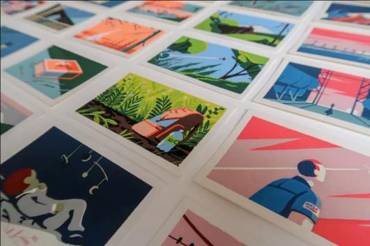 Come si può vedere anche dal profilo Instagram di Haugomat, molto spesso l'autore disegna su dei piccoli cartoncini, con degli acrilici, che diventano contemporaneamente vignetta – per la taglia e per il sospetto della narrazione che suggerisce – e illustrazione – per la solitudine dei soggetti ritratti. (L'immagine è tratta dal repertorio della Robillard Galerie, che gestisce e organizza le mostre dell'autore.