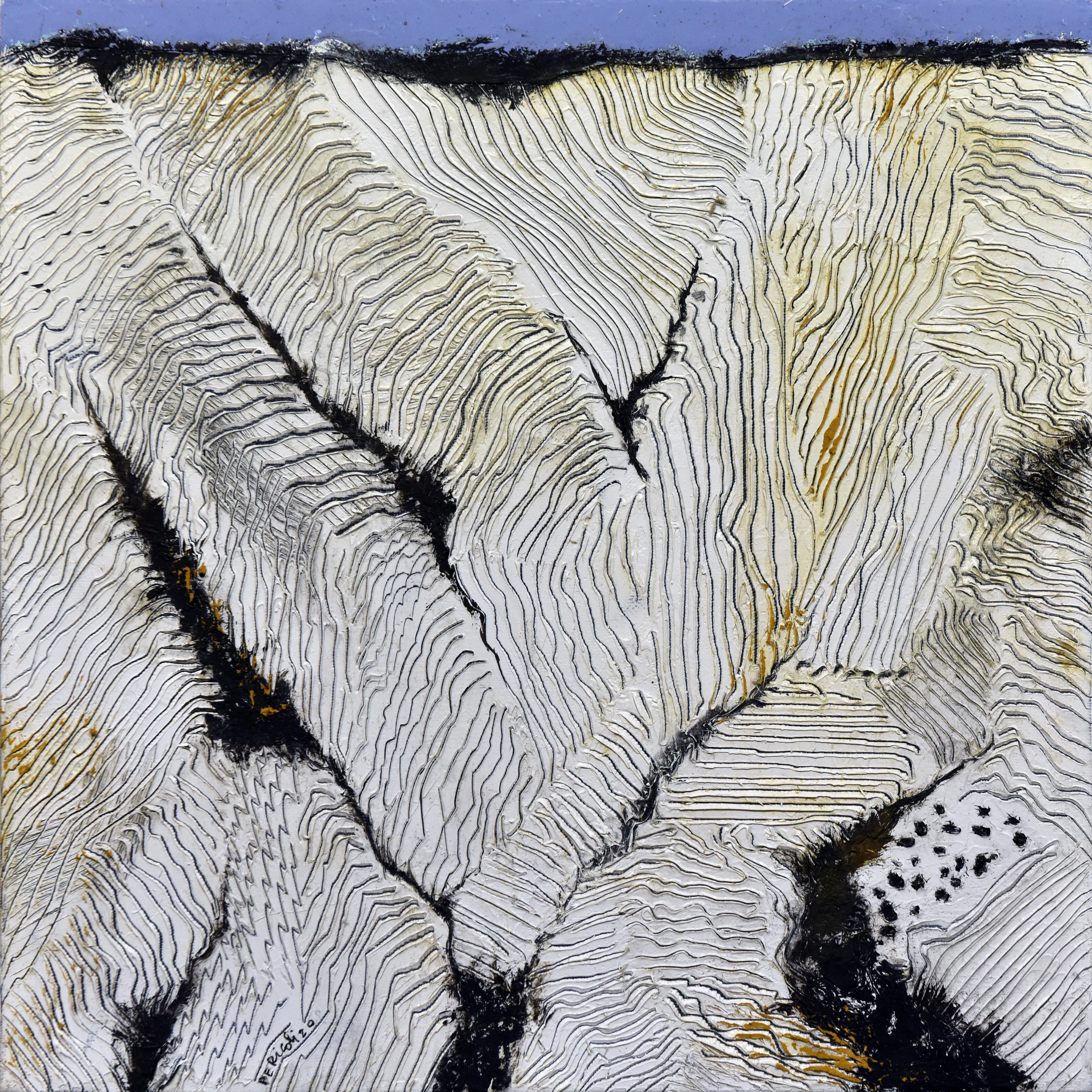 Tullio Pericoli, I fossi, 2020, olio su tela, 30 x 30 cm. (in Arte a parte, p. 29)